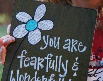 fearfully and wonderfully made handmade wood card
