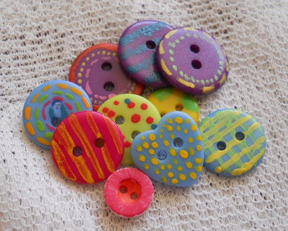 Painted Buttons Whimsical Hand Painted Buttons for Sewing Knitting or Crafts
