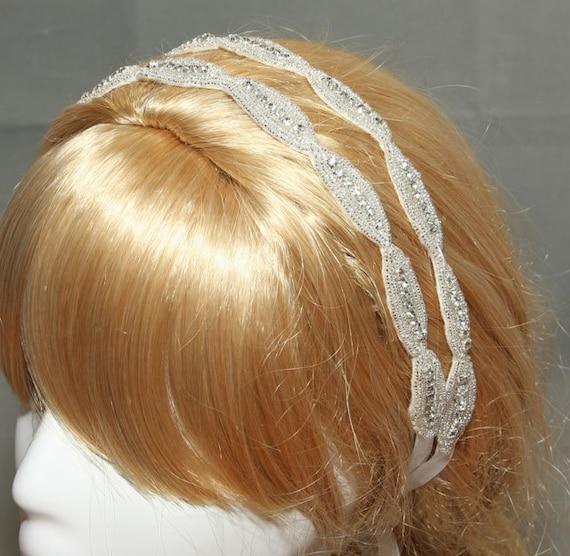 Bridal Double Rhinestone Applique Ribbon Headband, Wedding Accessories, Bridal Rhinestone Headpiece,Double Rhinestone Headband, Ribbon Tiara