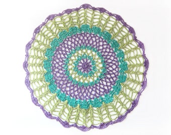 "Lime Teal Purple Round Doily - Neon Peacock - Green Blue Violet, 9"", Cotton - Lace, Housewarming Gift, Home Decor, Modern"