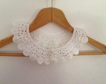 Wedding white crochet collar with beads, peter pan collar, lace collar, mustard, autumn, harvest, collar necklace,Bridesmaid