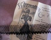 "French vintage black lace trim for haute couture dress, dolls, hat, bag, 2  yards x 1"" 1/4"