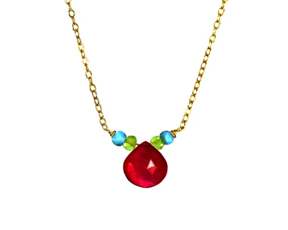 Magenta pink chalcedony necklace. Delicate Teardrop necklace. Turquoise and peridot Necklace. In Gold or Silver.