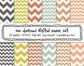 chevron digital paper, zig zag digital backgrounds, chevron photography backgrounds, tribal patterns, soft colors dark blue yellow pink 409