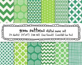 green patterns digital paper, christmas background papers, holiday photography backgrounds, green tones, instant download - 410