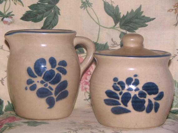 Pfaltzgraff Creamer and Sugar Bowl Vintage Stoneware Cobalt Blue Lids Tops Handles Coffee Tea Country Patterns Kitchen