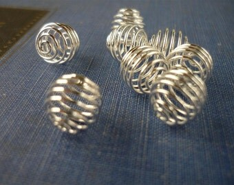 20 pcs Silver Bead Cages Coil Net 8 x 9mm (SMB687)