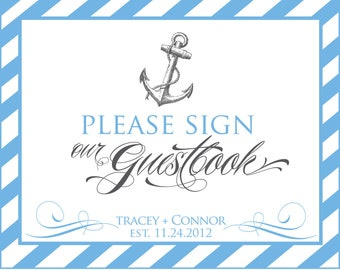 Printable Personalized Nautical Guestbook sign  - You Choose Color - Lovely Little Party