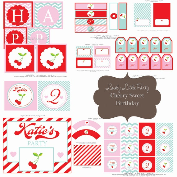 Personalized Printable Cherry Sweet Birthday Package - LOVELY LITTLE PARTY