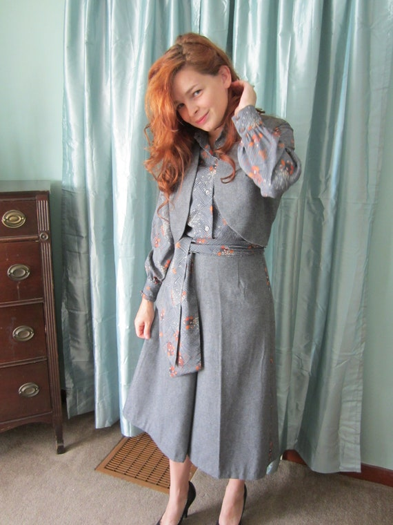 RESERVED 70s Vintage 1970s Wool Gaucho Suit