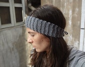 Gray Knit Headband with ties - womens or teen winter ski fashion hair wrap dreads - gift for her under 20 - girls accessories