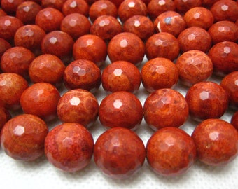 pressed spong coral faceted round 14mm 15.5 inch strand