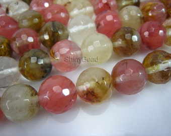 fire cherry quartz faceted round 12mm 15 inch strand
