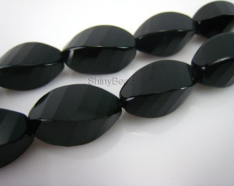 high quality Black Onyx faceted twisted rice bead 16x8mm 15 inch strand