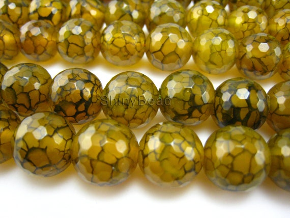 yellow dragon vein agate facted round bead 13mm 15 inch strand