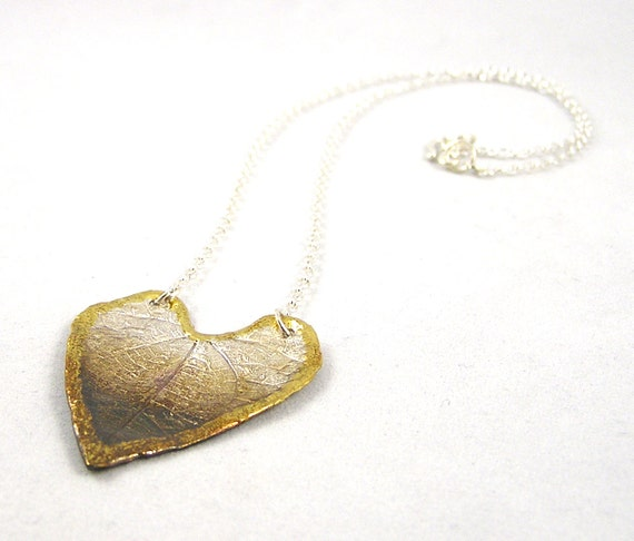 Heart shaped rainforest leaf necklace in fine silver and 22 k gold