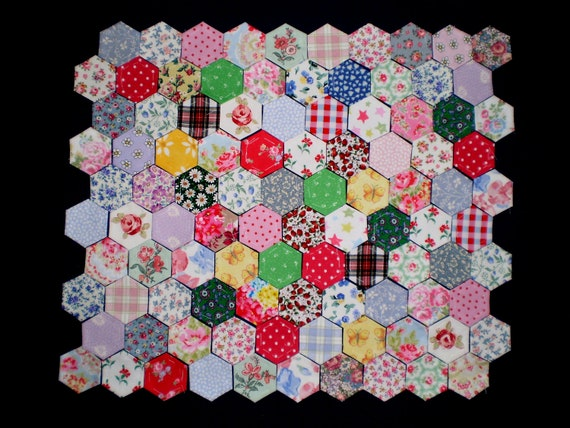 100 Fabric covered hexagons for patchwork, inc. vintage Laura Ashley & Cath Kidston