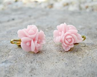 Light Pink Blossom Clip On Earrings --regular stud earring option