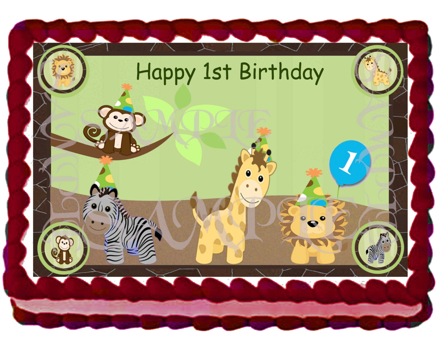 Safari Animals Cake Safari Animals Cake Topper