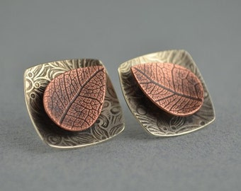 Copper Leaf Earrings - Metalsmith Earrings - Artisan Post Earrings