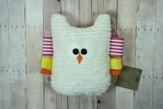 Girl's Owl Plush Baby Tag Toy and Colorful Teether in Pink, Yellow, Orange Stripes by JuteBaby