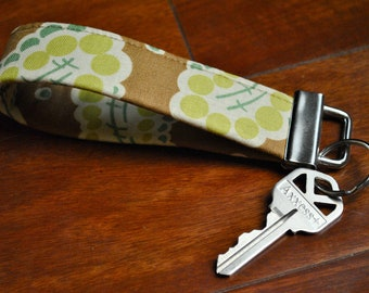 Key Fob - Key Chain - Fobskey - Fabric Key Fob - Heather Bailey's Dotted Paisley in Brown