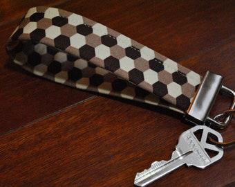 On Sale - Key Fob - Key Chain - Fobskey - Fabric Key Fob - Joel Dewberry's Geo Flax