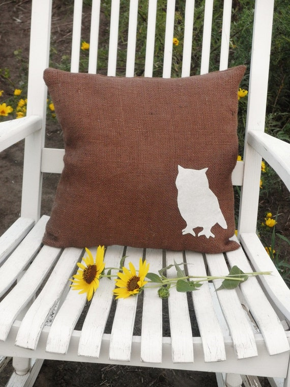 "15""x15"" Brown Burlap Owl Applique Pillow-Wildlife Collection"