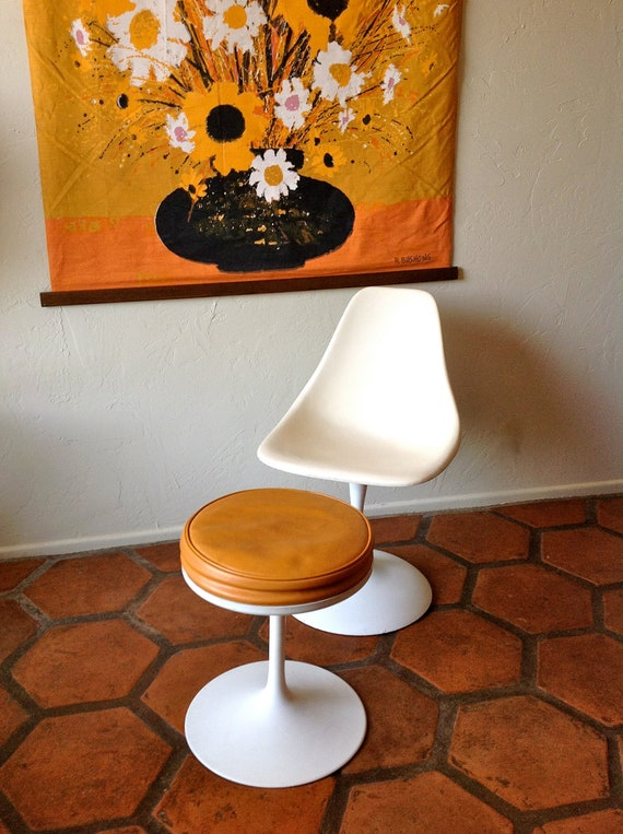 Reserved for EM Mid Century Modern Saarinen Style Tulip Chair with Ottoman