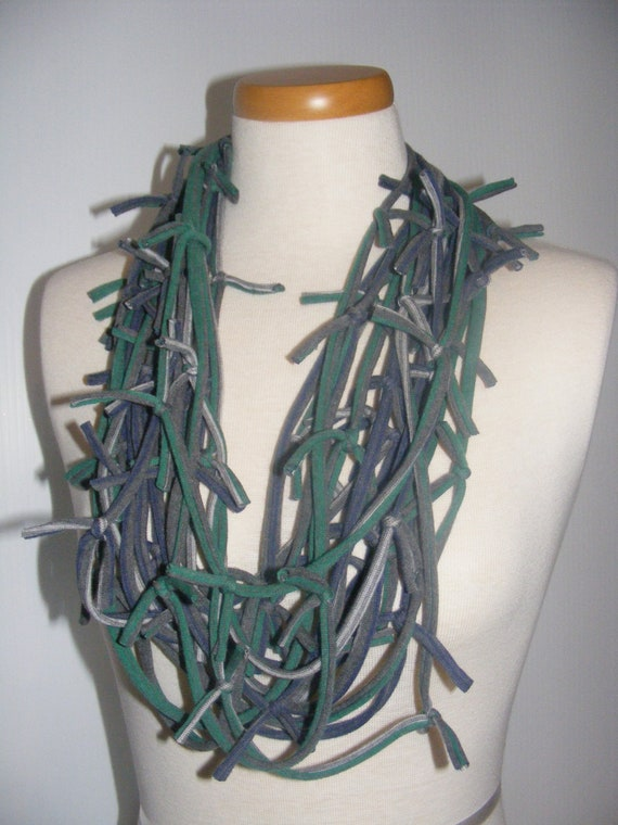 Gray Green Blue Stripe Knotted T-Shirt Scarf