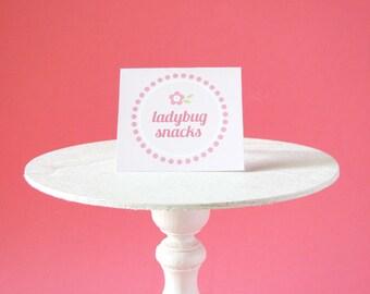 Ladybug printable - Ladybug Birthday - Flower Party Labels - Ladybug decorations - Printable Party - flowers - pink - polka dots