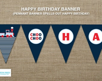 Train Printable - Train Birthday - Train Banner - decorations - choo choo - printable party - 2nd birthday - first birthday - boy birthday
