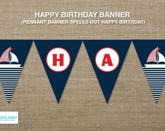 Nautical Banner - Nautical Birthday - Birthday Banner - Sail Baot - Printable Party - Nautical Baby Shower - First Birthday Printable
