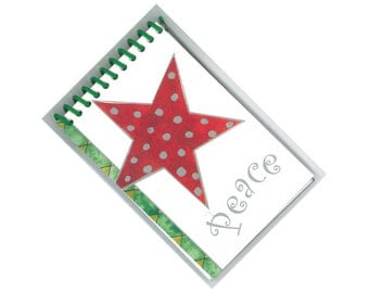 PEACE STAR repurposed greeting card spiral bound journal notebook