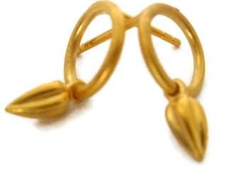 Small Gold Stud Earrings, Circle Post  Earrings Vermeil  Seed Pod Jewelry  Artisan Handmade by Sheri Beryl