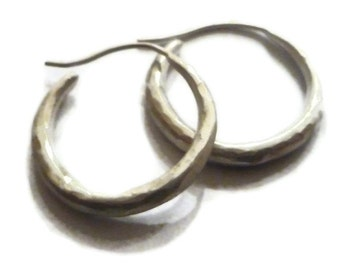 Hammered Silver Hoops Round Hoop Earrings, Hammered Hoops, Artisan Handmade  by Sheri Beryl