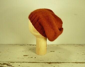 Peruvian Wool/Alpaca Yarn Rust Knit Slouchy Hat