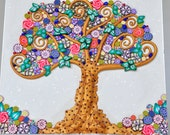 SALE! Klimt inspired Tree of Life in Polymer Clay and beads.