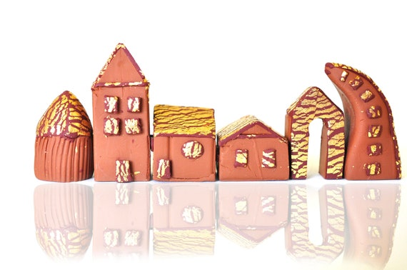 SALE! 30% OFF Clay Miniature Houses - It takes a Village - Gold leaf roofs Brown Polymer Clay