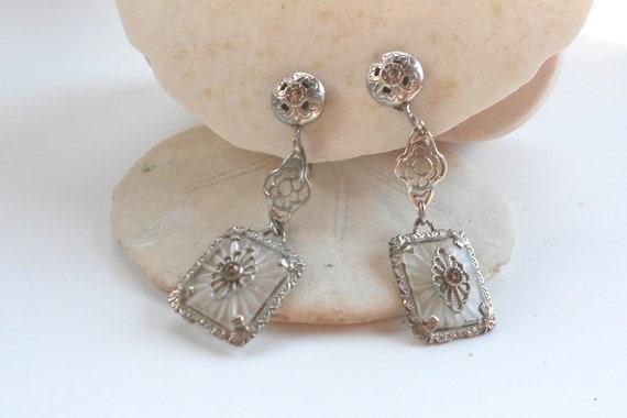 Art deco vintage rock crystal white gold earrings