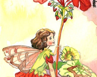 ACEO Limited Edition 5/25- Geranium fairy inspired by CM Barker, in watercolor