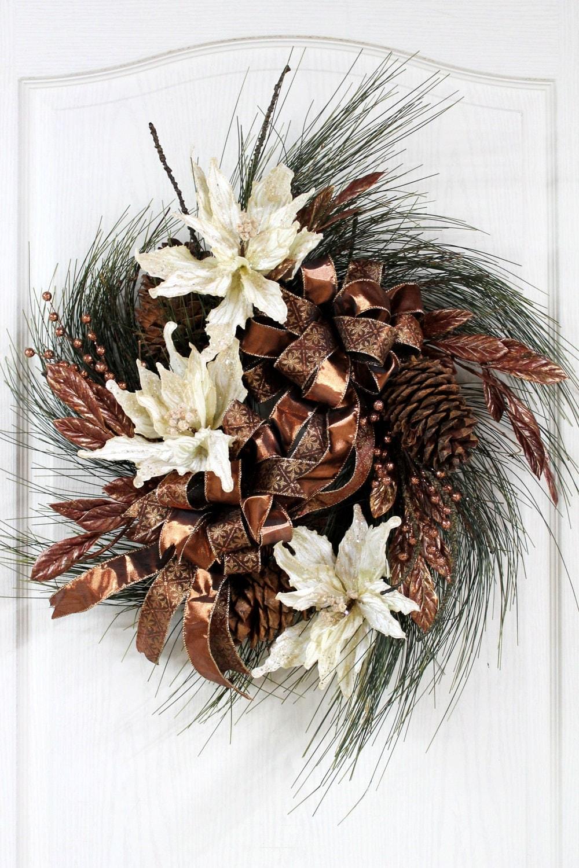 Items similar to Elegant Christmas Wreath, Beautiful Ivory ...