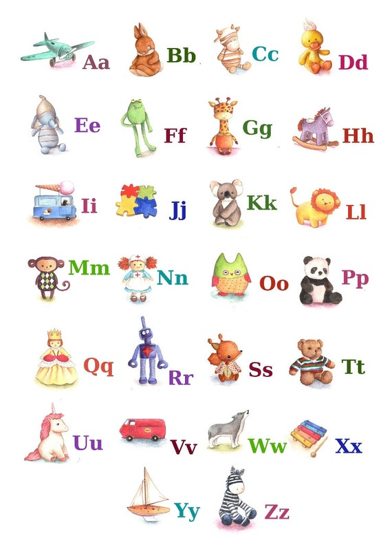 Alphabet Starts With Abc Abc Alphabet Poster a4 Print