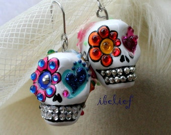 Skull in a-day is the day of the dead skulls white love earrings stone ES0084