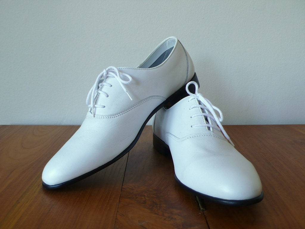 vintage 9 5 s white leather oxford dress shoes ambre