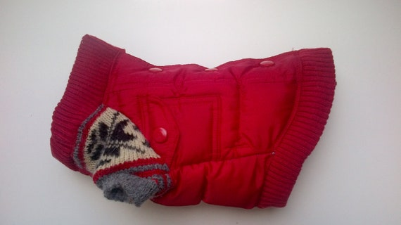 Red Upcycled Dog Jacket with Wool Sleeves