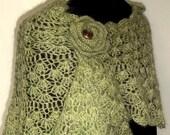 Soft Green Crochet Shawl Scarf lace wrap handmade crescent mohair shawlette