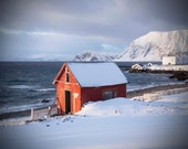 Large Wall Art-Red Cabin in the Snow- Winter Photography- beach and white mountain-Northern Norway-Home Decor-Fine art Photography-16x20