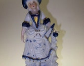 Colonial Lady Blue White China Figurine Lady Figurine