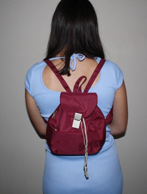 Vintage Burgundy Red Backpack Mini Baby Nylon Purse Bag Sporty